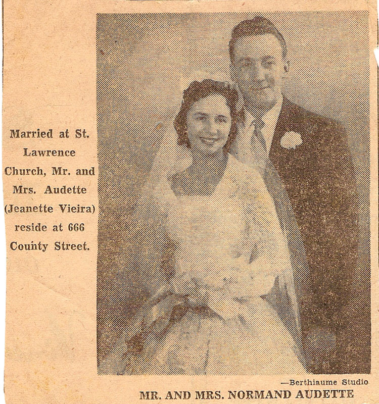 Normand Audette and Jeanette Viera wedding pciture newspaper